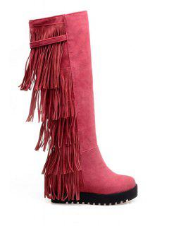 Fringe Solid Color Platform Mid-Calf Boots - Peach Red 38