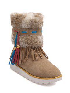 Tassels Fringe Faux Fur Snow Boots - Off-white 39