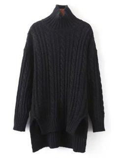 Solid Color High-Low-Hem Turtle Neck Sweater - Black