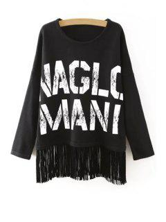 Letter Pattern Tassels Round Neck Long Sleeves Sweater - Black