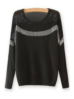 Chain Embellished Round Neck Long Sleeves Sweater - Black