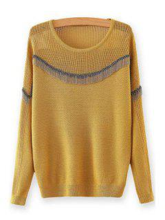 Chain Embellished Round Neck Long Sleeves Sweater - Yellow