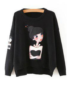 Cartoon Figure Print Round Neck Long Sleeves Sweater - Black