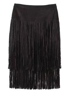 Tassels Faux Suede High Waisted Skirt - Black L