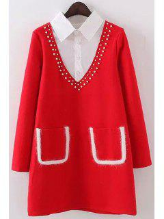 Beaded Pockets Shirt Collar Long Sleeves Dress - Red L