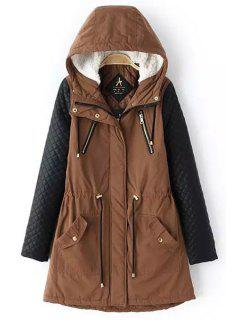 Faux Leather Spliced Hooded Coat - Brown