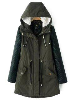 Quilting Faux Leather Spliced Hooded Coat - Army Green 3xl