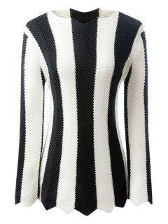 Black And White Striped Long Sleeve Jumper - White And Black L