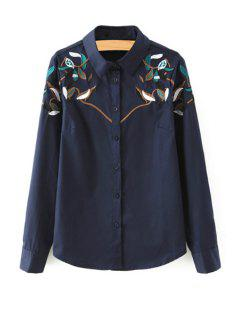 Leaf Embroidery Shirt Neck Long Sleeves Shirt - Blue Xl