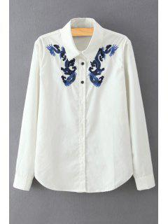 Dragon Embroidery Long Sleeves Shirt - White L