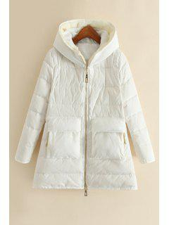 Hooded Fur Collar Long Sleeve Down Coat - White L
