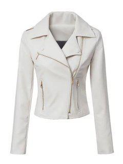 Heart Print Lapel PU Leather Blazer - White Xl