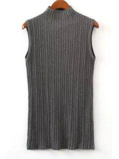 Pure Color Stand Neck Knit Tank Top - Gray