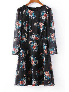 Floral Chiffon Round Neck Long Sleeve Dress - Black M