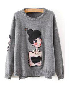Cartoon Figure Print Round Neck Long Sleeves Sweater - Gray
