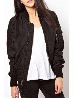 Pure Color Stand Collar Baseball Jacket - Black Xl
