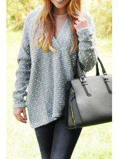 Loose Fitting Plunging Neck Long Sleeves Sweater - Gray Xl