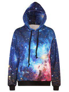 Starry Print Long Sleeve Pullover Hoodie - Blue