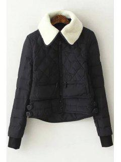 Turn-Down Collar Checked Quilted Jacket - Black M