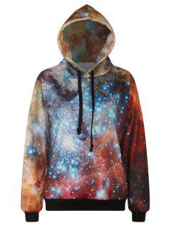 Galaxy Print Long Sleeve Pullover Hoodie - Orange