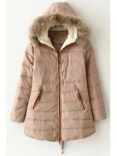 Hooded Faux Fur Collar Quilted Coat - Off-white Xl