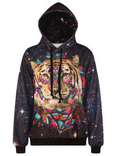 Tiger Pattern Long Sleeve Pullover Hoodie - Black