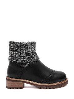 Knitting Splicing Engraving Sweater Boots - Black 38