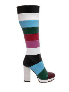 Chunky Heel Color Block Mid-Calf Boots - Red 40