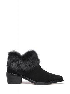 Pointed Toe Faux Fur Suede Ankle Boots - Black 39