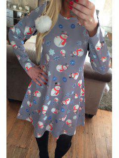 Santa Claus Snowflake Print Long Sleeves T-Shirt Dress - Gray L