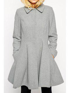 Single-Breasted Gray Cocktail Coat - Gray Xs