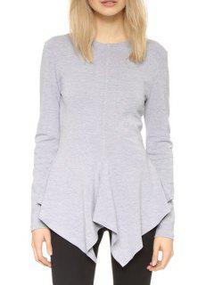 Solid Color Irregular Hem Long Sleeves Dress - Gray S