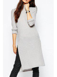 Solid Color Side Slit Turtle Neck Sweater Dress - Gray Xl