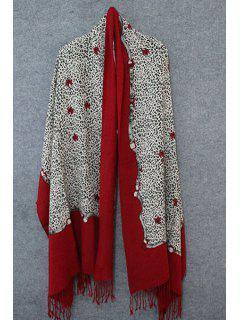 Leopard Print Tassel Pashmina - Red