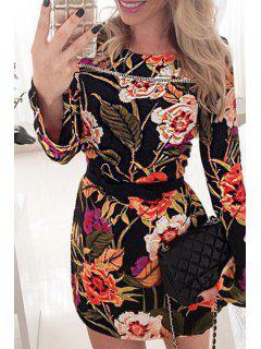 Round Neck Long Sleeve Floral Print Dress - Black Xl
