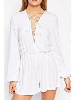 Plunging Neck Long Sleeve Lace-Up Playsuit - White S