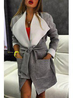 Large Lapel Big Pocket Self-Tie Belt Coat - Gray 2xl