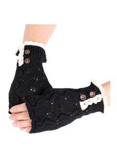 Lace Button Hollow Out Knitted Fingerless Gloves - Black