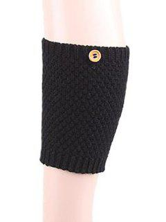 Button Knitted Boot Cuffs - Black
