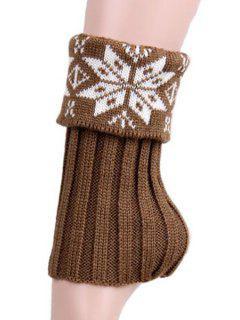 Christmas Snowflake Knitted Boot Cuffs - Khaki