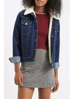 Denim Turn Down Collar Long Sleeve Jacket - Blue M