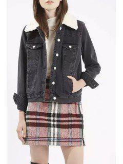 Denim Turn Down Collar Long Sleeve Jacket - Black S