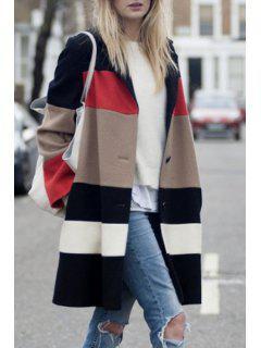 Color Block Turn-Down Collar Long Sleeves Coat - S