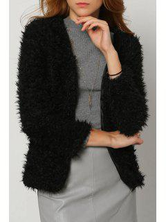 Solid Color Faux Fur Long Sleeves Thicken Coat - Black S