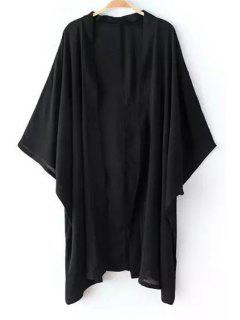 Solid Color Loose Fitting Batwing Sleeves Kimono Coat - Black L