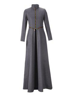 Stand Neck Zippered Extra Long Coat - Gray 2xl