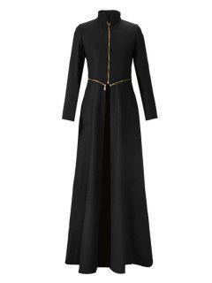 Stand Neck Zippered Extra Long Coat - Black 2xl