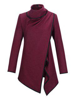 Large Lapel Button Design Piped Trench Coat - Wine Red L