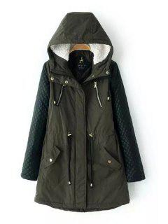 PU Leather Spliced Hooded Long Sleeves Padded Coat - Green M