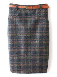 Plaid Pattern High Waist Skirt - Green S